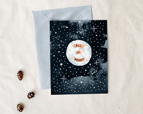 All is bright illustrated holiday greeting card with envelope