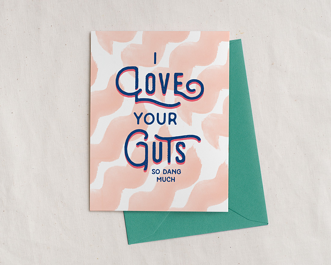 cute handlettered i love your guts so dang much illustrated card with envelope