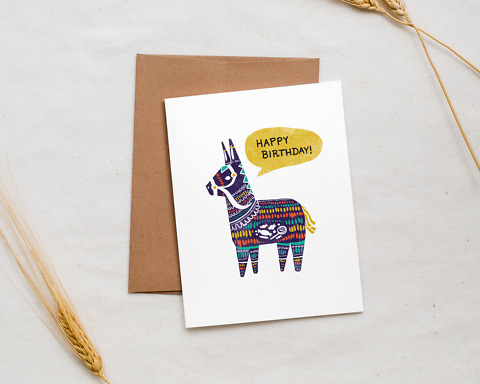 happy birthday pinata card styled with wheat