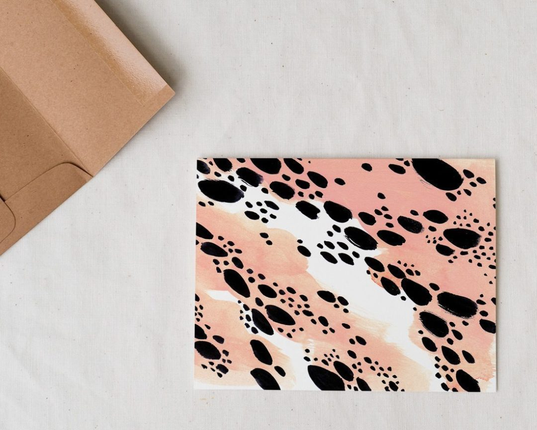 abstract pink leopard spots greeting card with offset envelope