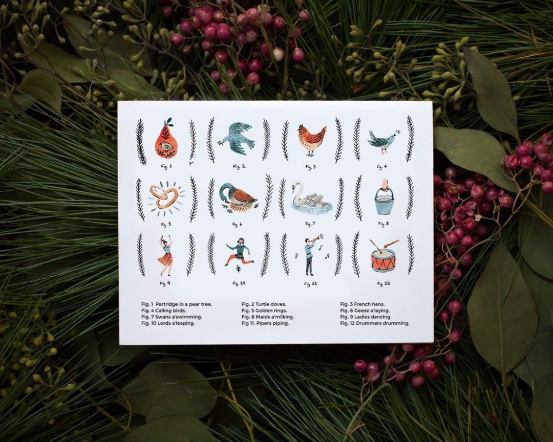 12 days of christmas card on bed of greenery