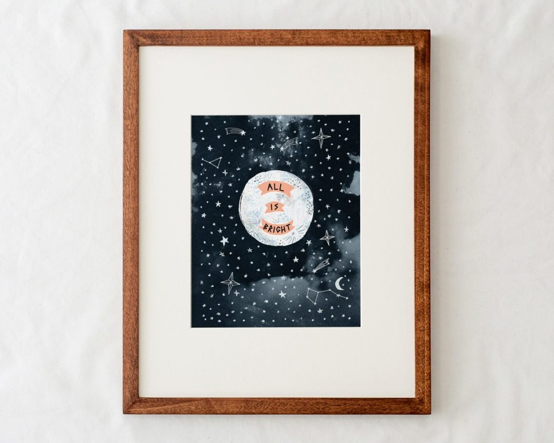 8x10 all is bright moon art print illustration in natural wood frame