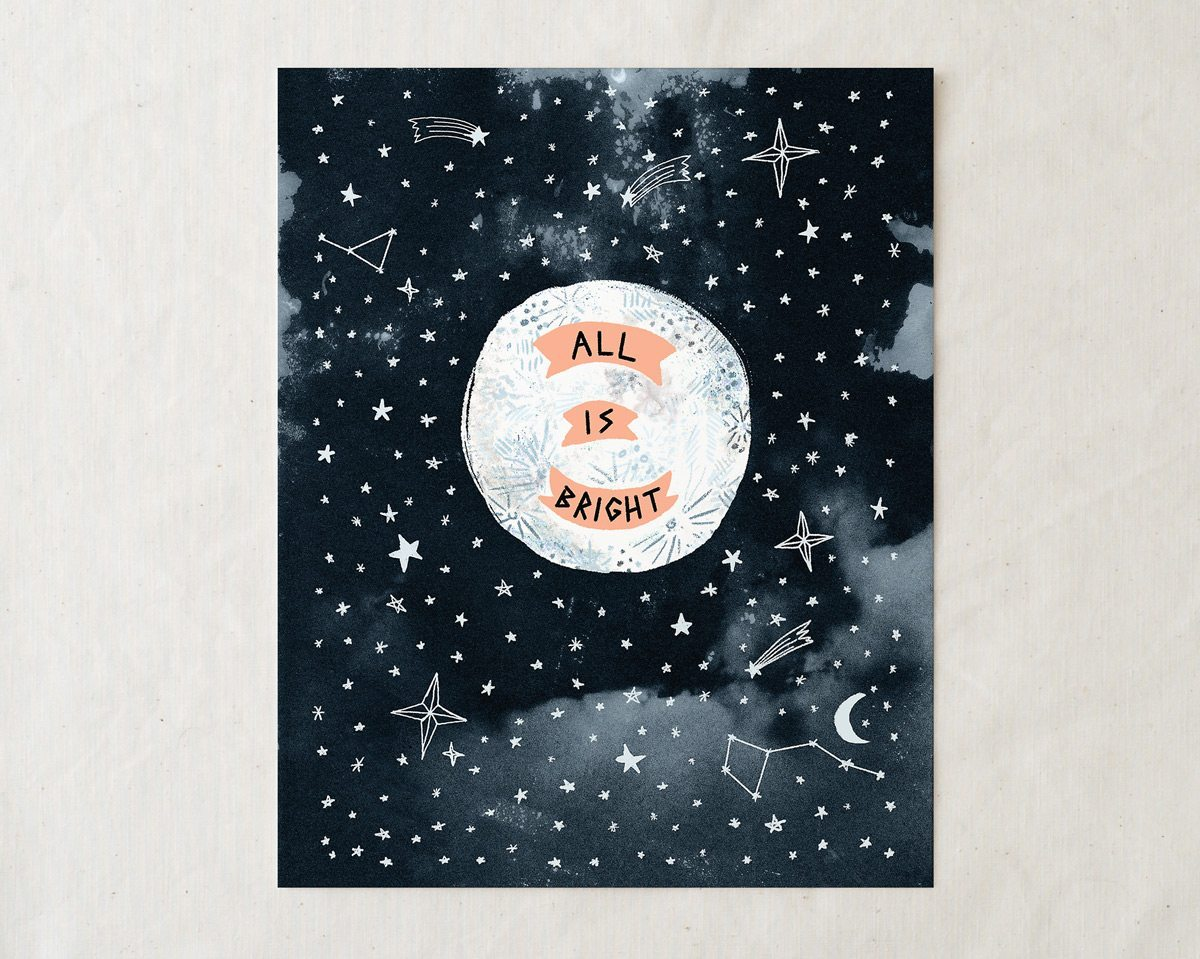 8x10 all is bright moon art print illustration