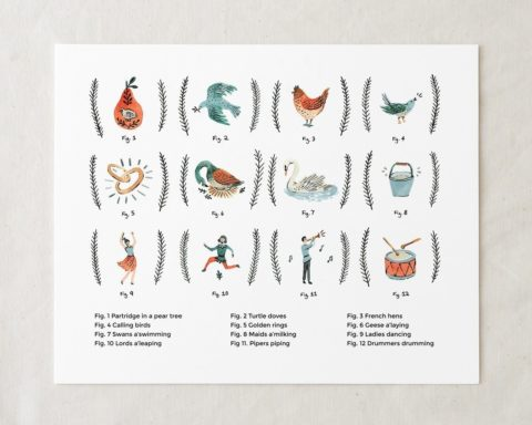 12 days of Christmas art print illustration