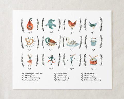 12 days of Christmas art print illustration