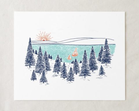 lakeshore art print with pine trees illustration