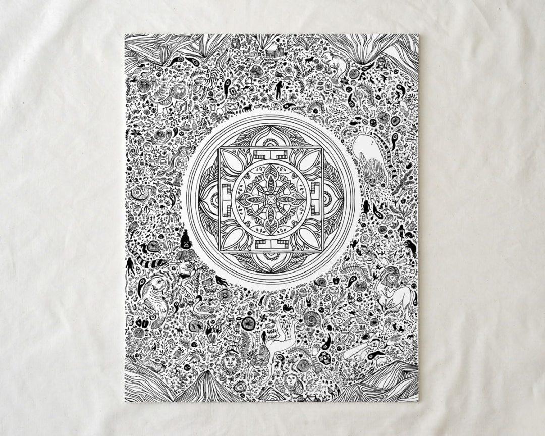black and white illustrated nirvana art lotus print