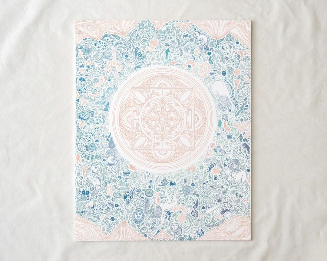 blue and pink illustrated nirvana art lotus print