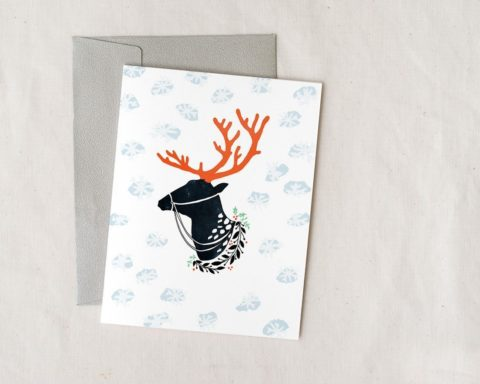 reindeer christmas card with envelope