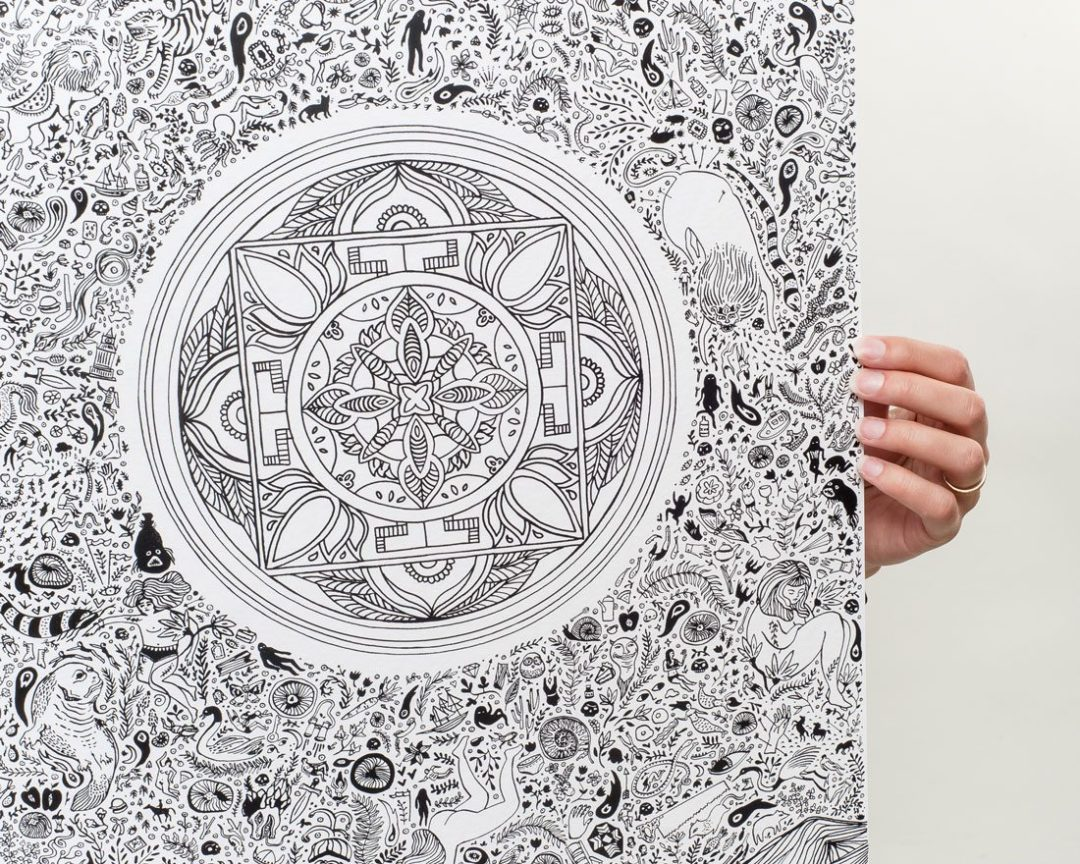 close up of black and white nirvana art lotus print