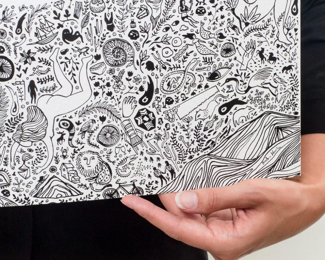 detail of black and white nirvana art lotus print