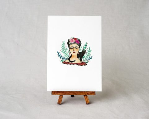 5x7 frida kahlo art print illustration displayed on a small easel