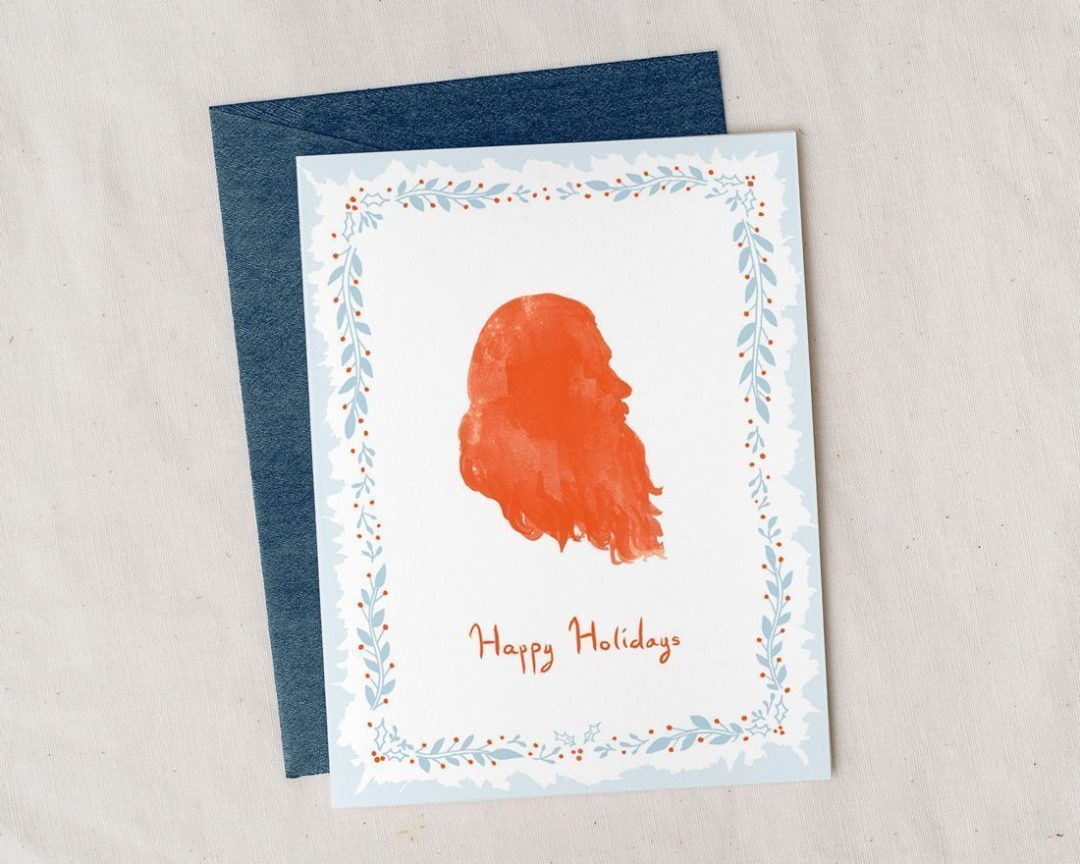 illustrated Happy Holidays Santa card with metallic envelope