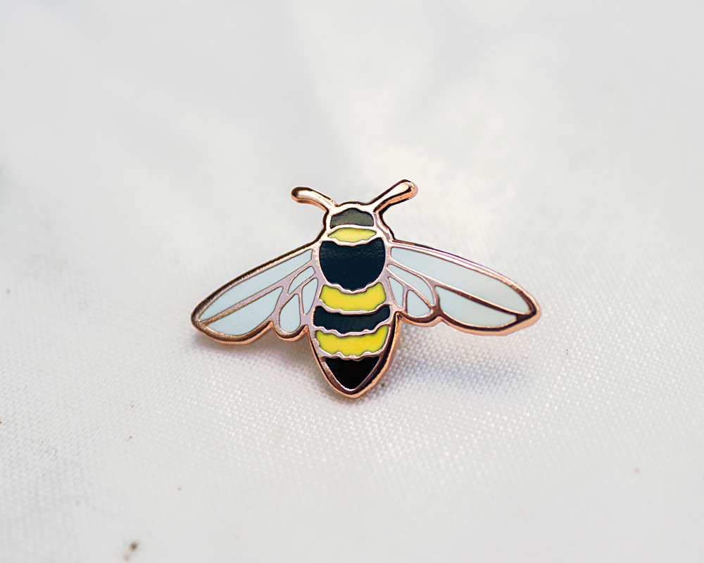 honeybee enamel bee pin badge lapel in copper by Wildship Studio