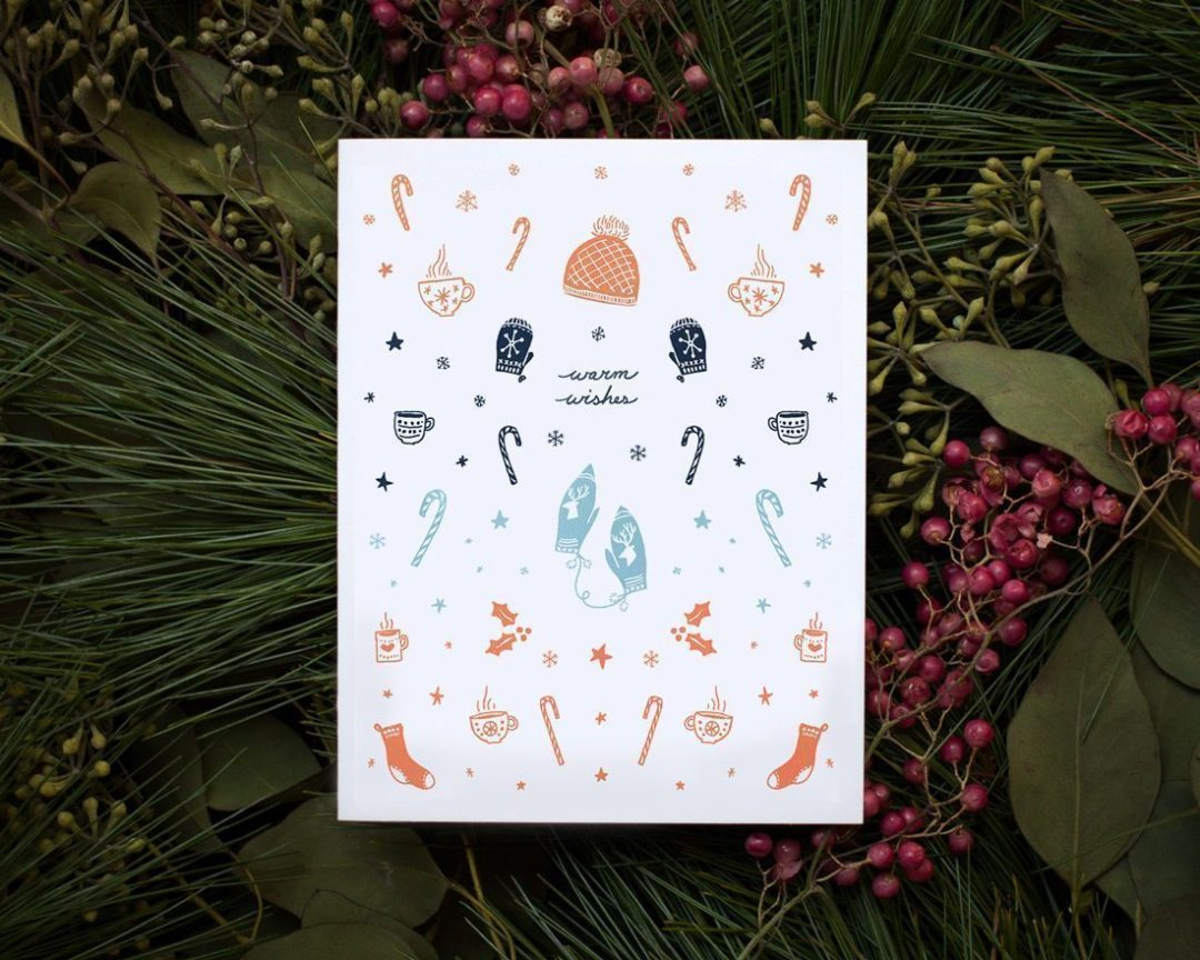 warm wishes illustrated holiday greeting card styled on greenery