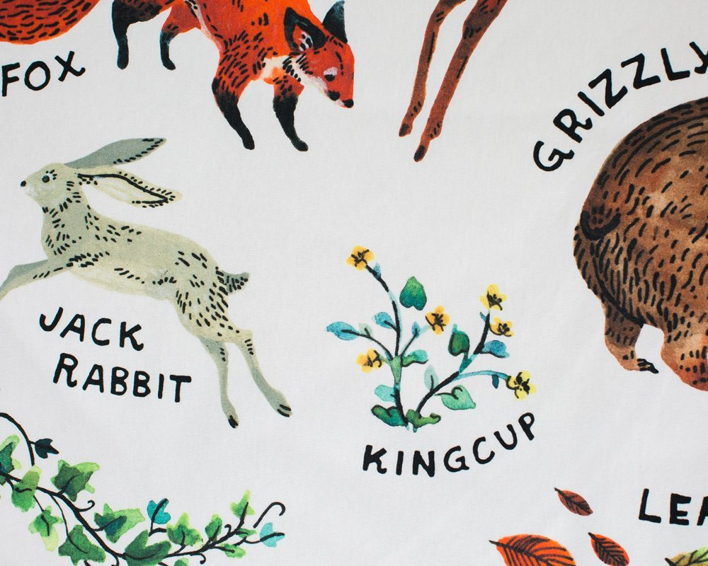detailed fabric close-up photo of organic woodland alphabet baby blanket made in usa