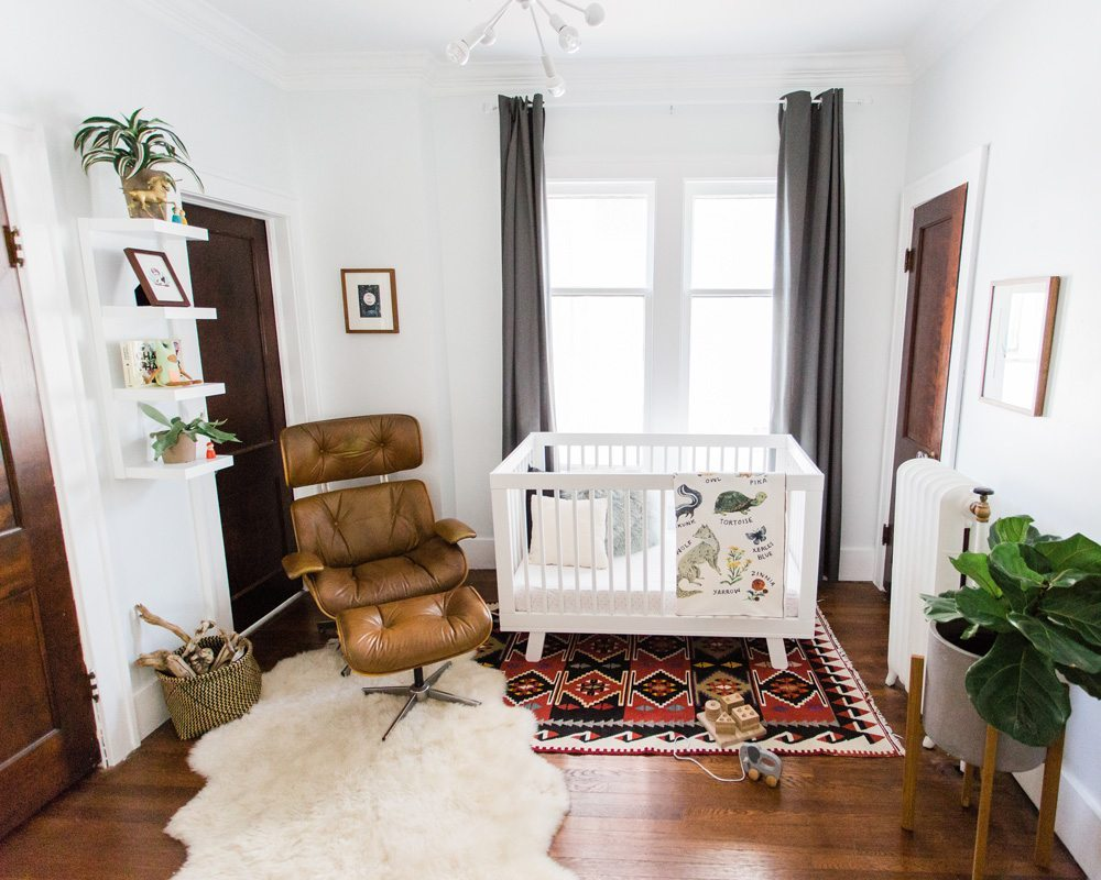 styled bohemian nursery with woodland alphabet blanket made in usa