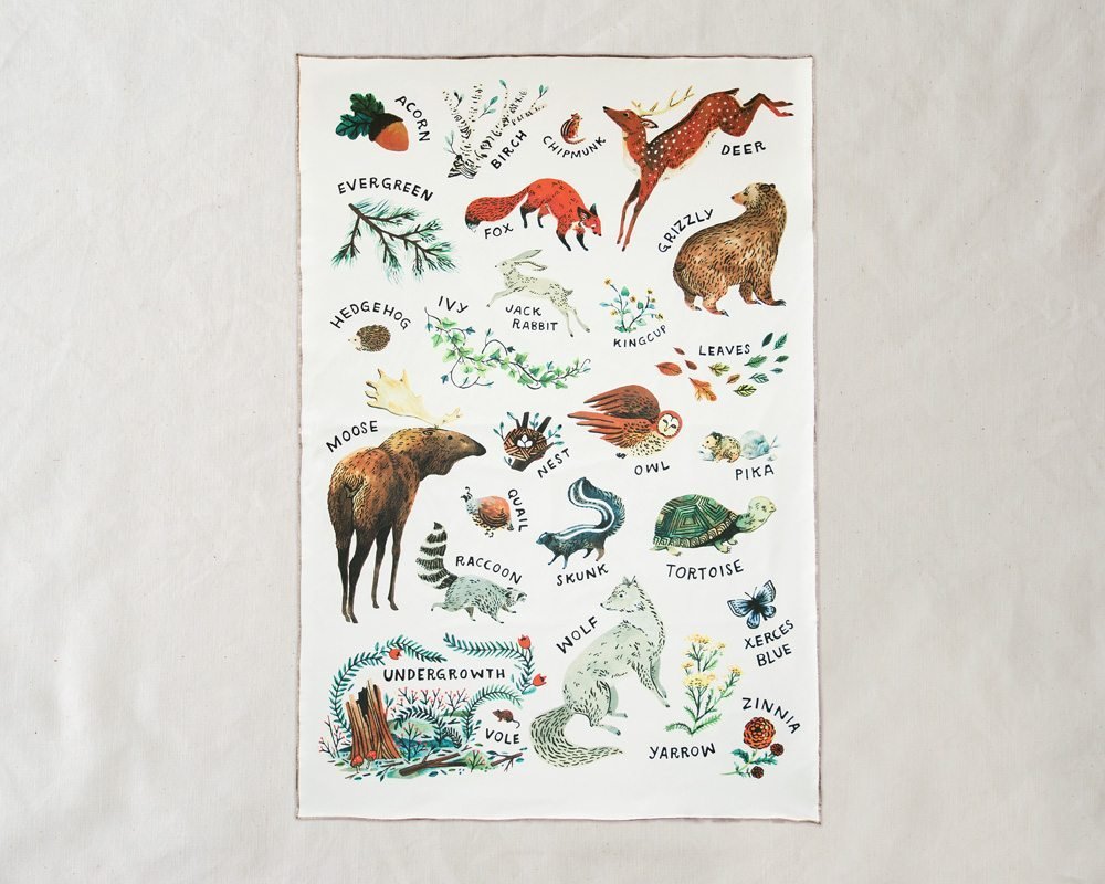 full view of organic woodland baby blanket alphabet made in usa