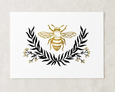 a 5x7 art painting print of a honeybee with a faux gold foil effect above a wreath of leaves and flowers