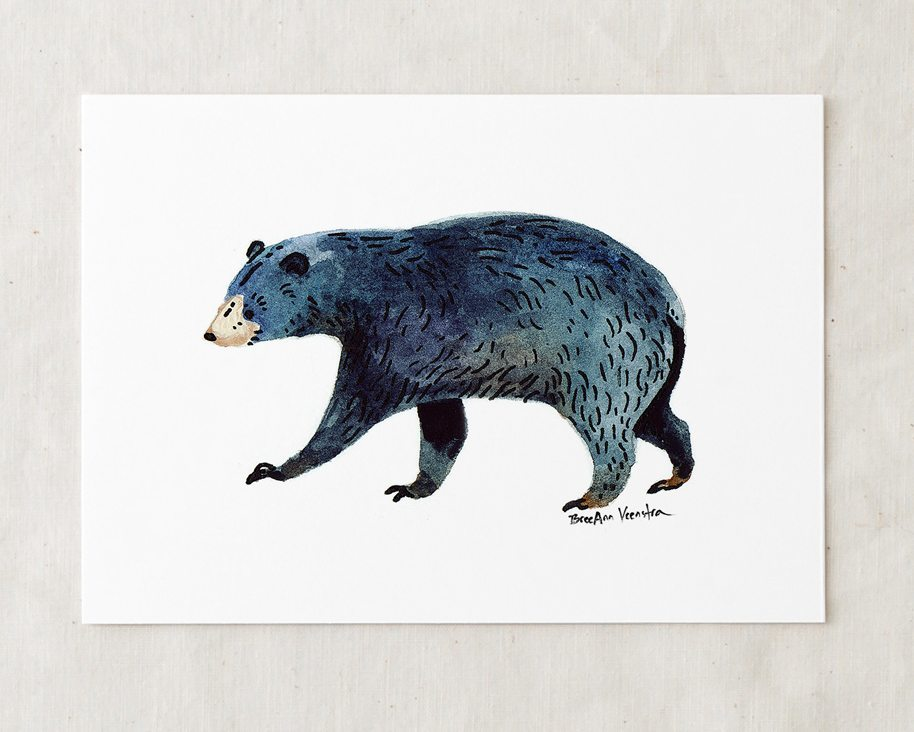 a 5x7 nursery watercolor art painting print of blue black bear walking