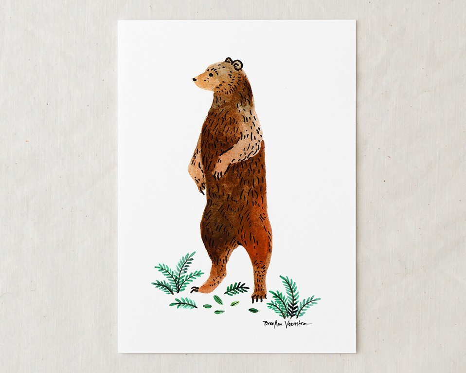a 5x7 nursery watercolor art painting print of a brown grizzly bear standing up with green foliage at its feet