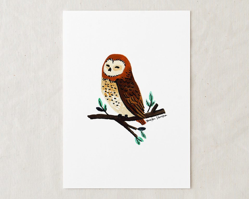 a 5x7 nursery watercolor art painting print of cute and happy little brown owl sitting on a branch with leaves