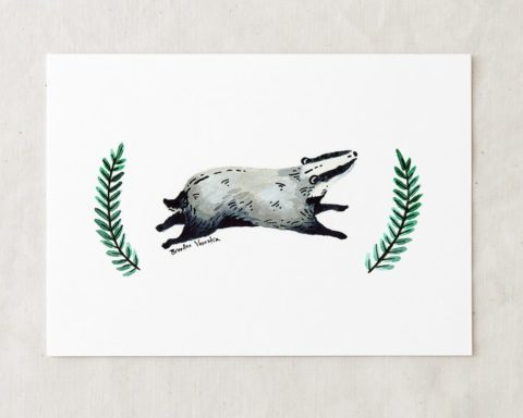 a 5x7 nursery watercolor art painting print of a happy badger running with two sprigs of greenery on either side