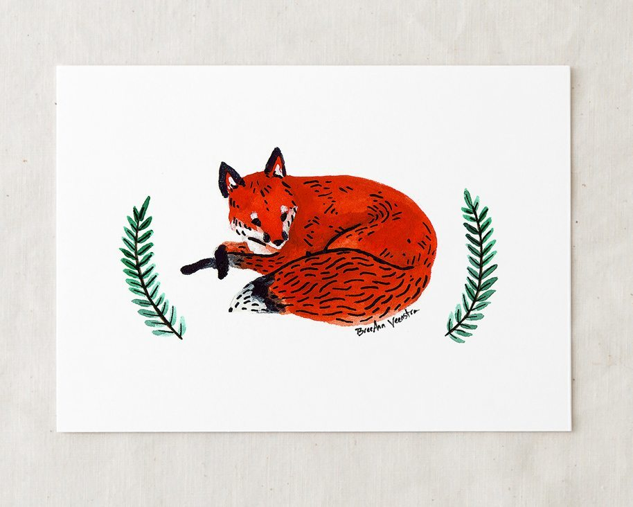 a 5x7 nursery watercolor art painting print of a sleepy red fox with sprigs of greenery on either side