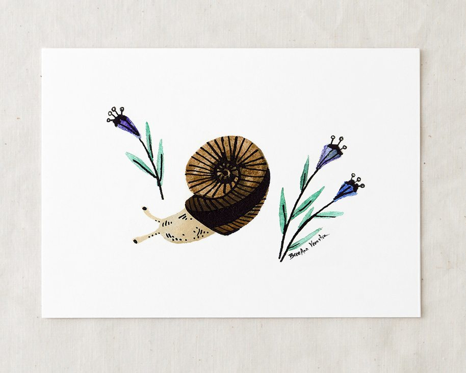 a 5x7 nursery watercolor art painting print of a brown and black striped garden snail surrounded by purple flowers