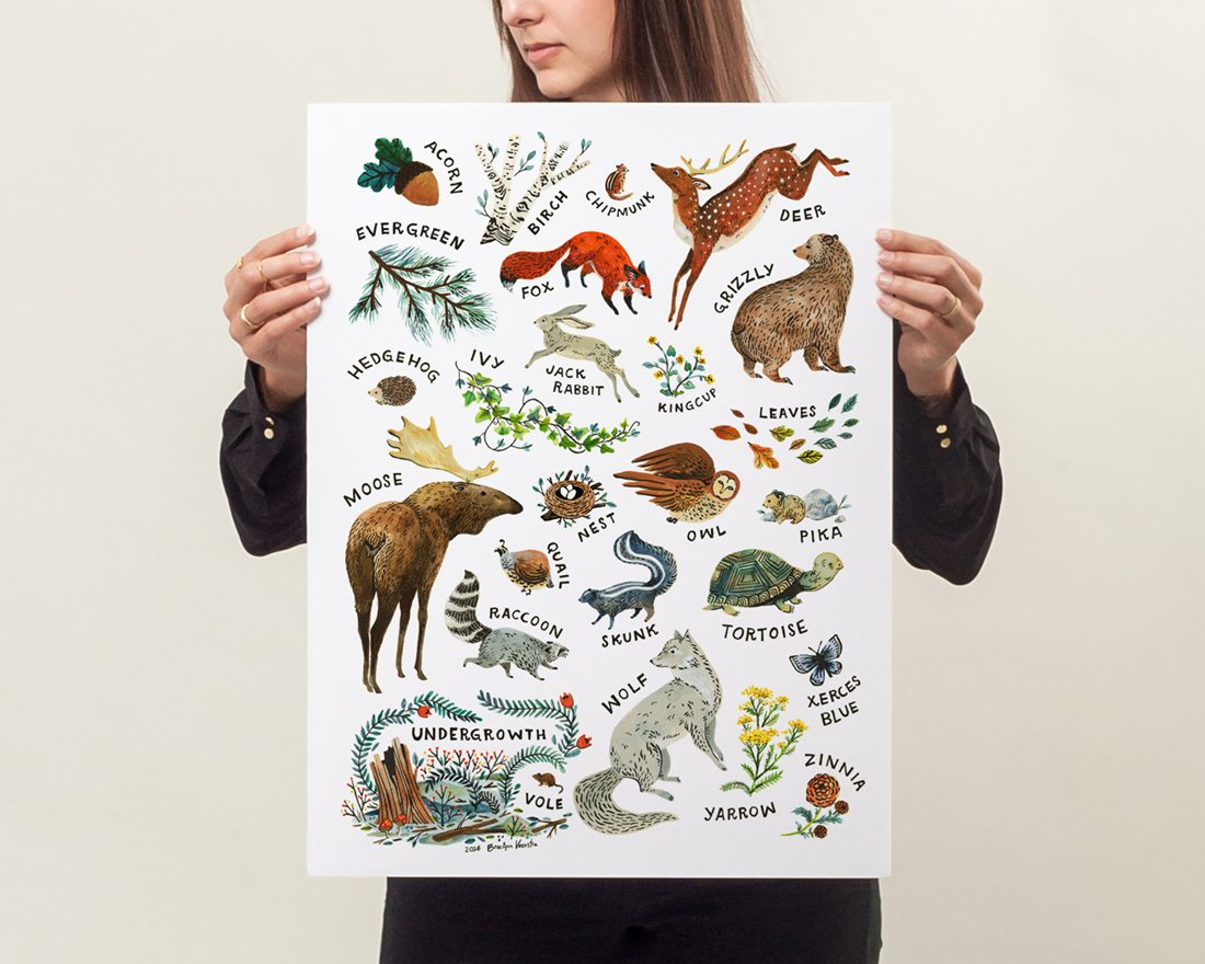 Model showing actual size of Woodland Alphabet Art Poster featuring a variety of animals and plants in a frame