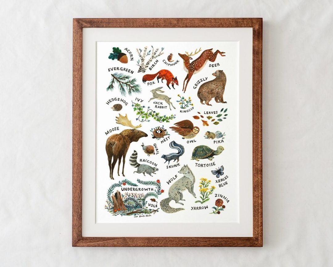 Woodland Alphabet Nursery Art Print In Natural Wood Frame