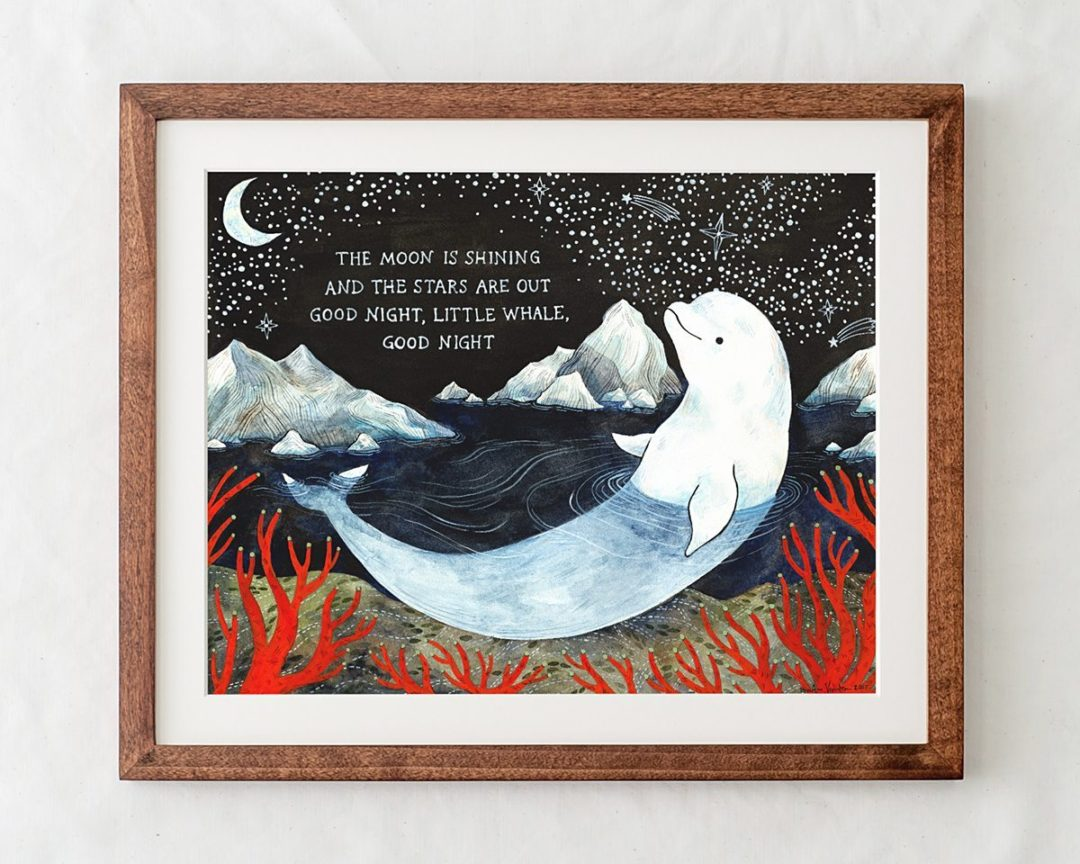 baby beluga nursery art print decor in wood frame