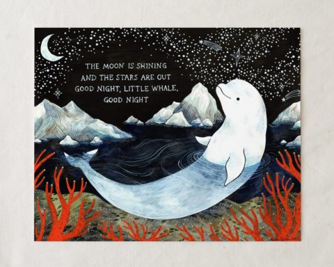 baby beluga white whale nursery wall art print decor