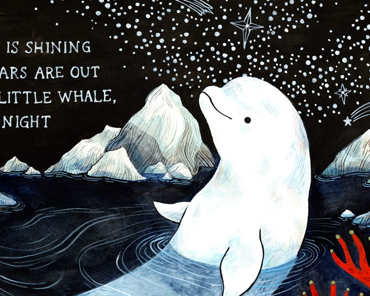 detail of baby beluga white whale nursery art print