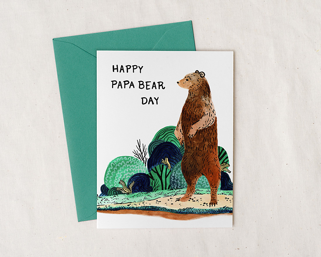 Father's Day card with illustration of a brown bear standing up and the words happy papa bear day