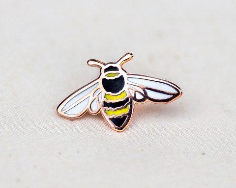 honeybee enamel bee pin badge lapel in copper by Wildship Studio