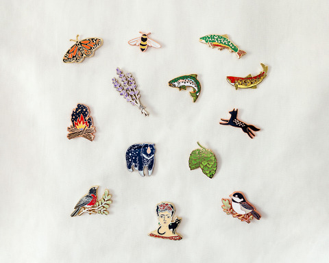 plant and animal nature enamel pins by wildship studio
