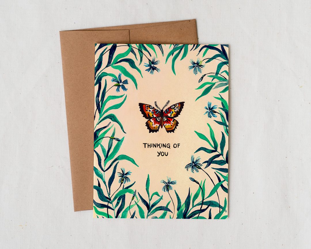 Thinking of You illustrated greeting card with butterfly and foliage