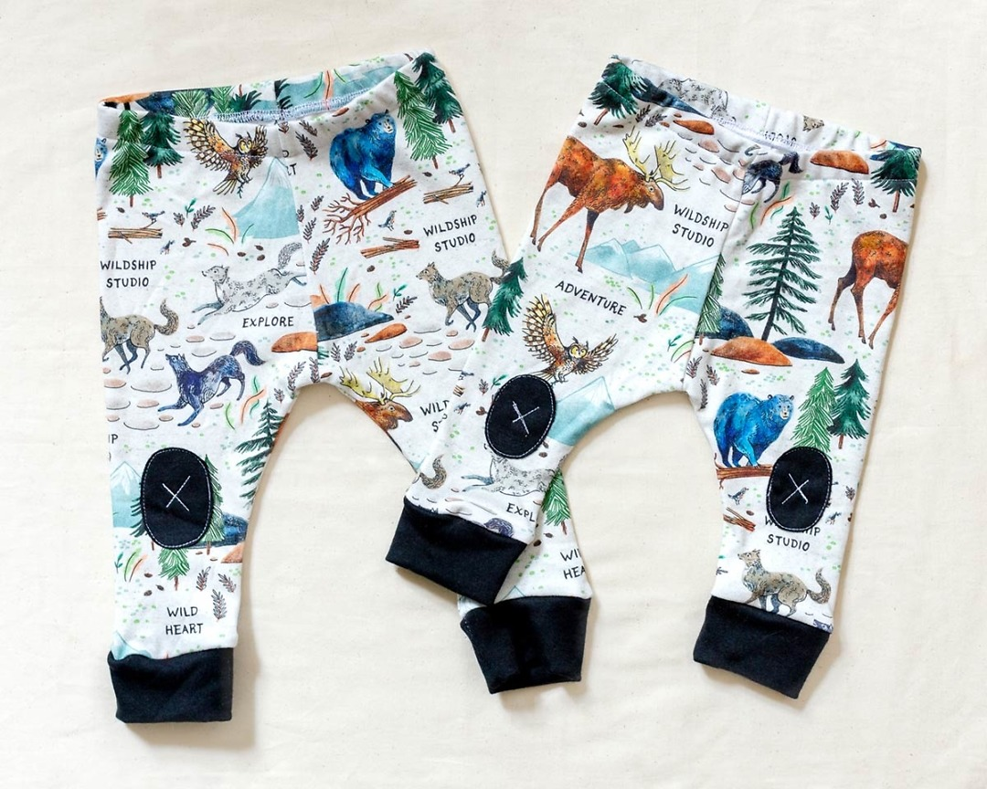 two pairs of Wilderness Adventure Organic Baby Leggings by Wildship Studio