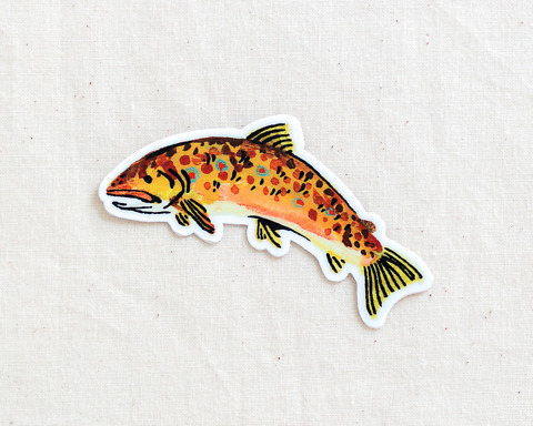 cute brown trout fish vinyl sticker by wildship studio