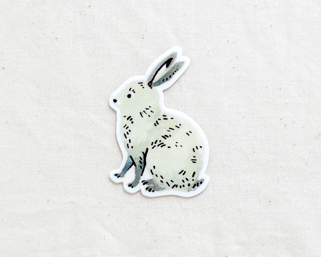 cute bunny rabbit vinyl sticker by wildship studio