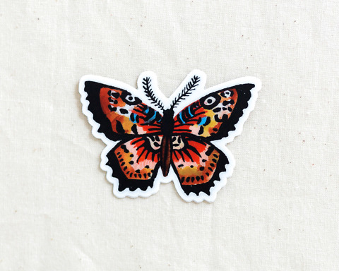 cute butterfly vinyl animal sticker by wildship studio