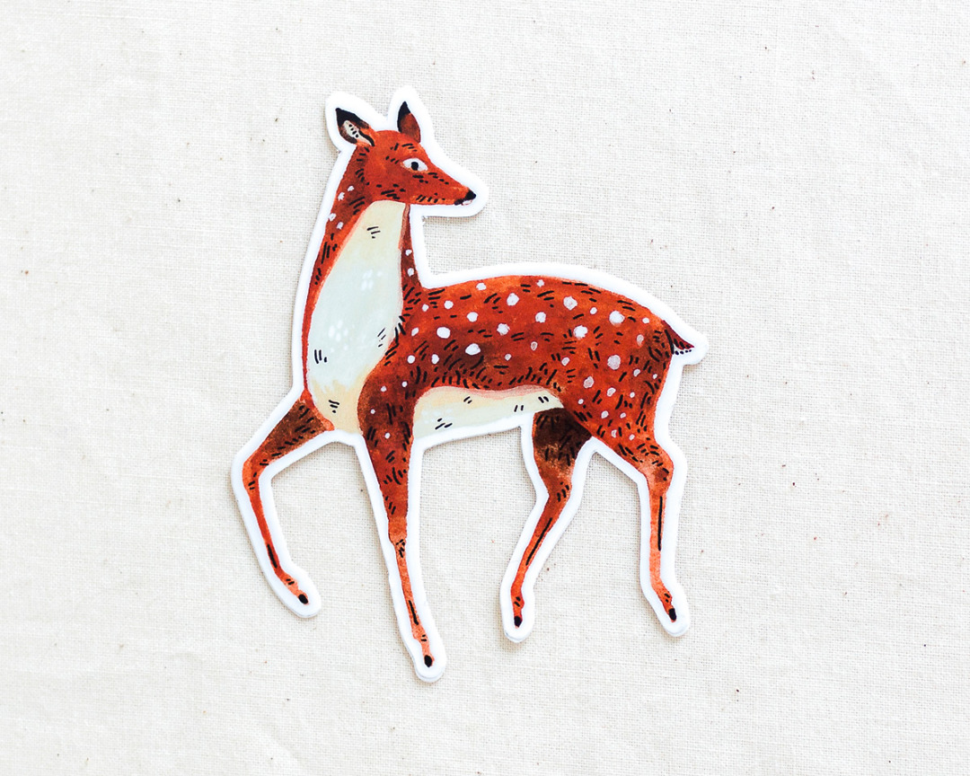 cute deer vinyl sticker by wildship studio