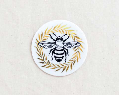 cute honey bee and wreath vinyl sticker by wildship studio