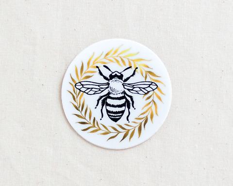 cute honey bee and wreath vinyl sticker by wildship studio