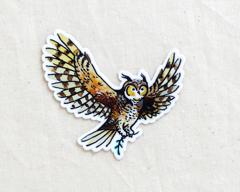 cute owl vinyl animal sticker by wildship studio