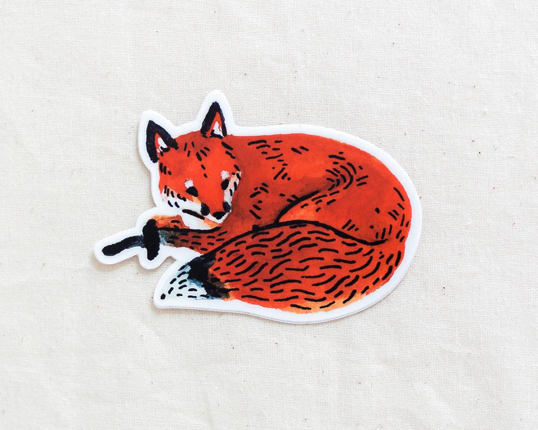a cute red fox vinyl sticker by wildship studio