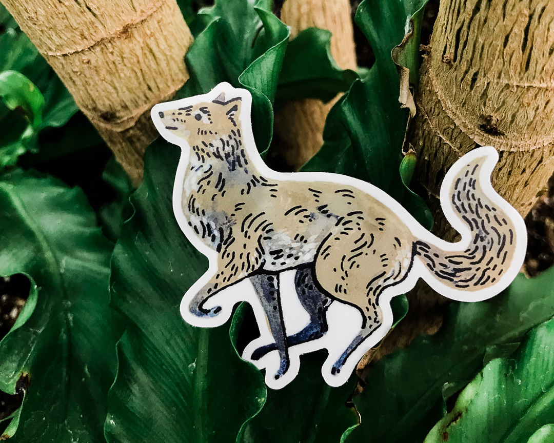 cute running wolf vinyl animal sticker art by wildship studioagainst plants