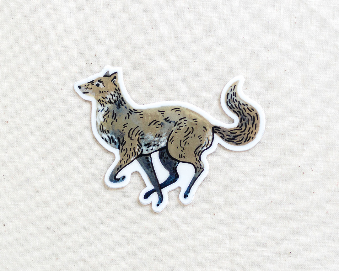 cute wolf vinyl sticker by wildship studio