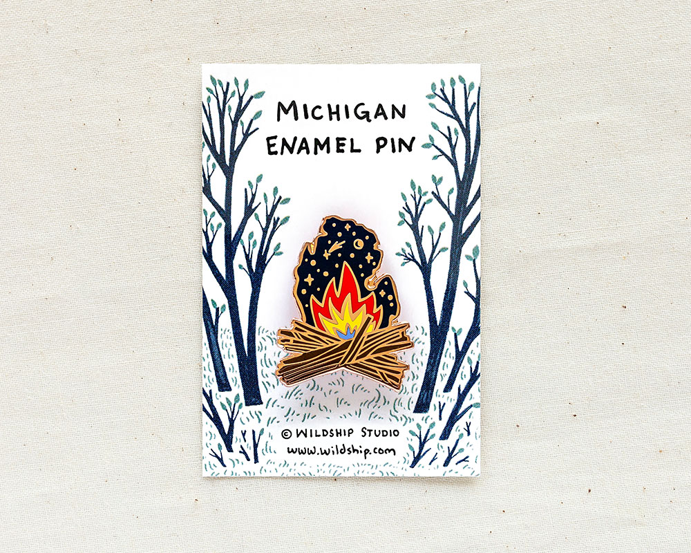 michigan enamel pin in packaging by wildship studio